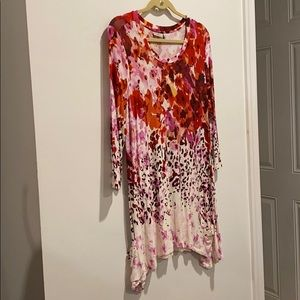 LOGO dress floral pattern long sleeves w pockets